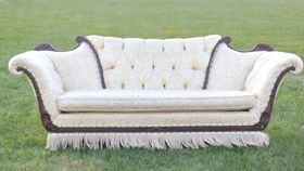 Image of a The Flapper: Cream and Gold Fringe Sofa