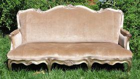 Image of a Anna Grace: Beige Velvet Sofa