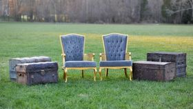 Image of a The Baldwins: Grey Tufted Chairs