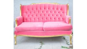 Image of a The Selma: Pink Tufted Loveseat