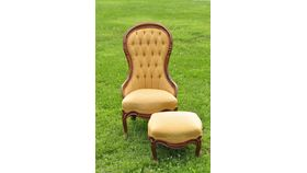 Image of a Dorothy & Toto: Gold Brocade Parlor Chair