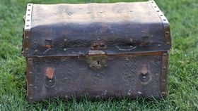 Image of a Embossed Leather Steamer Trunk