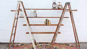 Image of a Vintage Ladders + Shelf