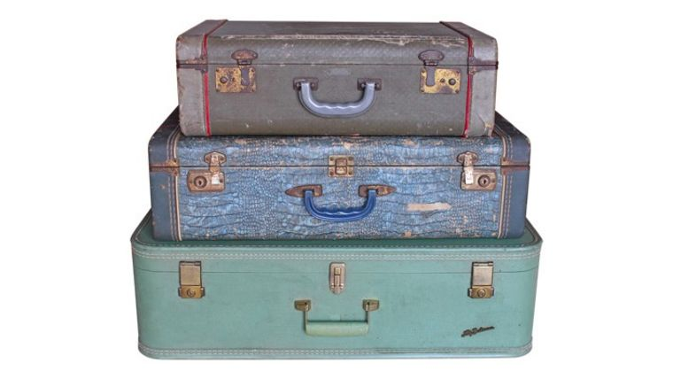 Image of a Vintage Green and Blue Suitcases