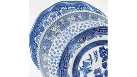 Image of a Blue + White Dinner Plate