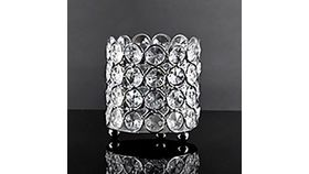 Image of a Crystal Votive Holder Round Silver