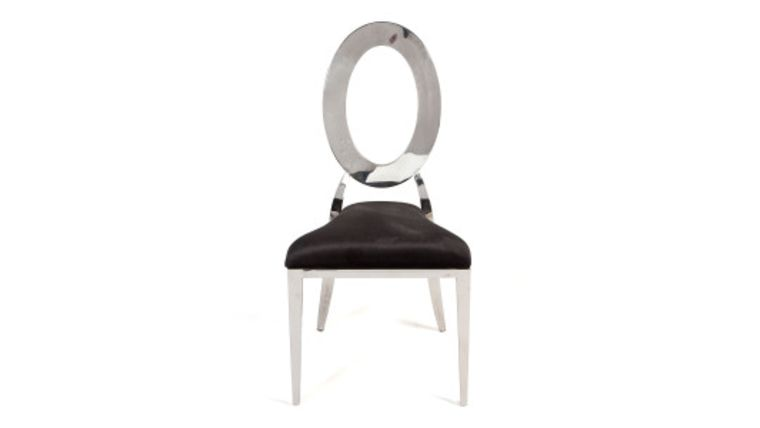"Picture of a ""O"" Chair Silver With Black Upholstery"