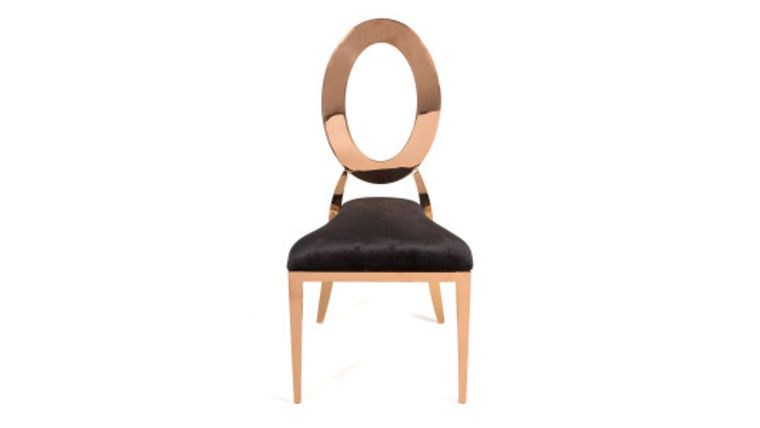 """Picture of a """"O"""" Chair Rose Gold With Black Upholstery"""