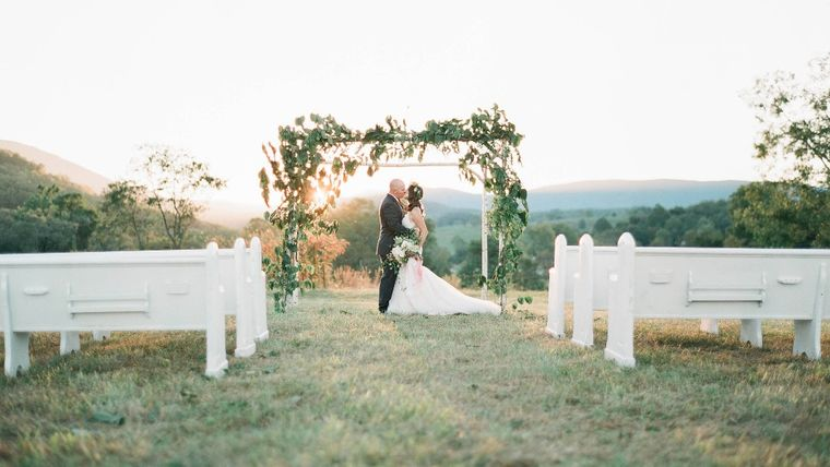 Outdoor Wedding with Traditional Church Pews : goodshuffle.com