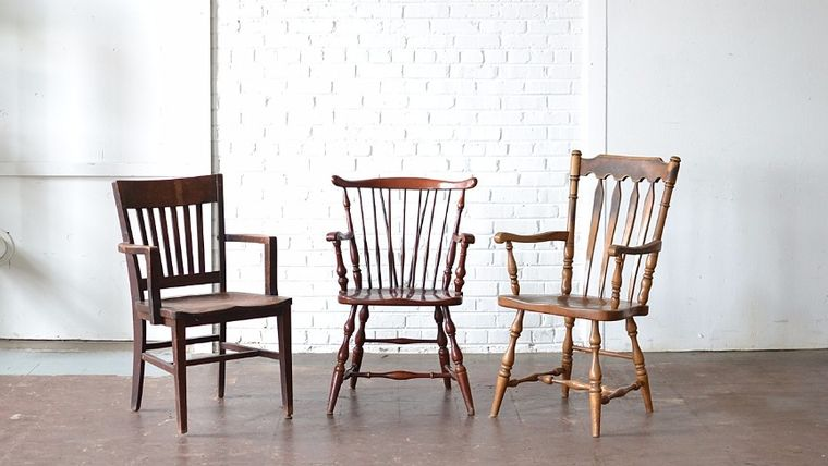 Picture of a Mismatched Wooden Armchairs