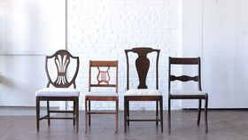 Image of a Wood Upholstered Dining Chairs