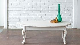Image of a Distressed White Coffee Table