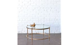 Image of a Gold & Glass Round Coffee Table