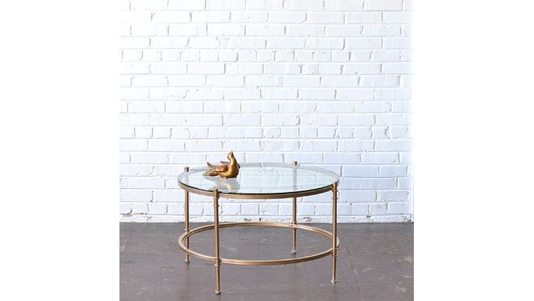 Picture of a Gold & Glass Round Coffee Table