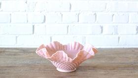 Image of a Pink Hobnail Milk Glass Bowl
