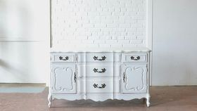 Image of a Distressed White Dresser