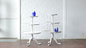 Image of a White Three Tier Table