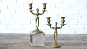 Image of a Two Arm Brass Candlestick