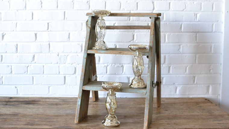 Picture of a Mercury Glass Pillar Stand - 8.5""