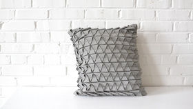 Image of a Geometric Gray Square Pillow