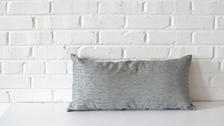 Picture of a Textured Gray Rectangle Pillow