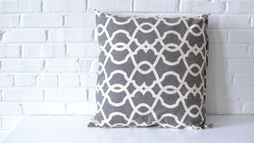 Image of a White on Gray Pattern Pillow