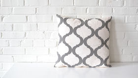 Image of a Gray on White Quatrefoil Pillow