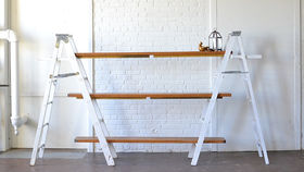 Image of a White Ladder Shelving