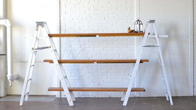 Picture of a White Ladder Shelving