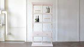 Image of a White Carved Post Hutch