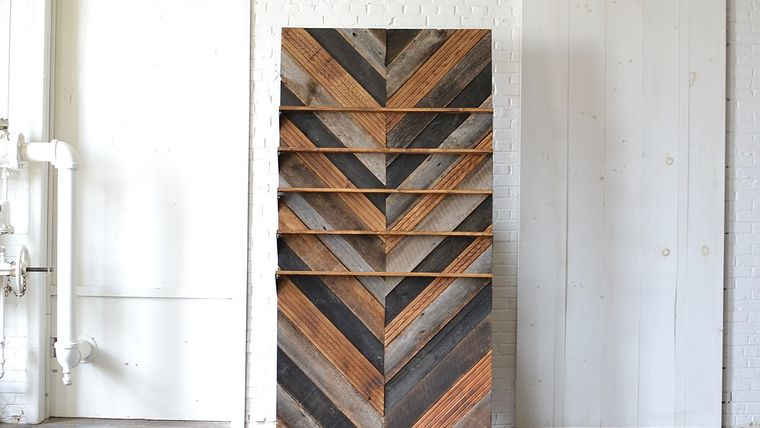 Image of a Chevron Wooden Backdrop with Shelves