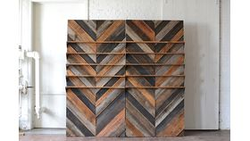 Chevron Wooden Backdrop with Shelves image