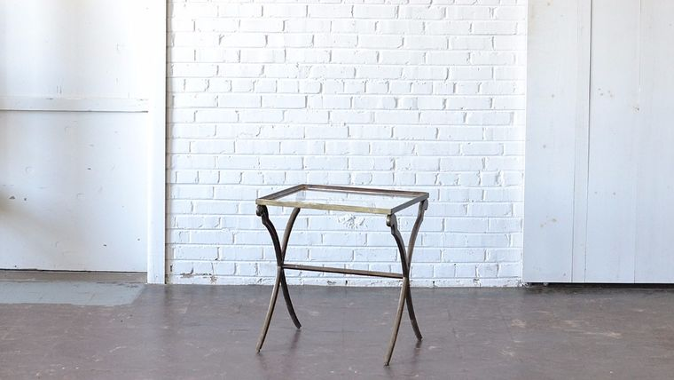 Picture of a Brass & Glass End Table