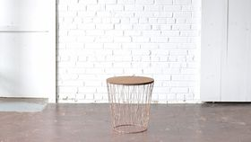 Image of a Copper & Wood End Table