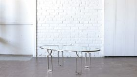 Image of a Gold & Glass Oval Coffee Table