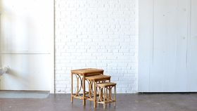 Image of a Rattan Nesting Tables - Set of 3