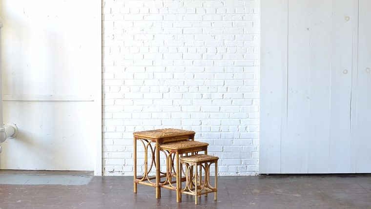 Picture of a Rattan Nesting Tables - Set of 3