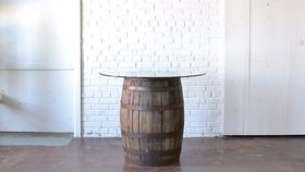 Image of a Barrel Table with Glass Top