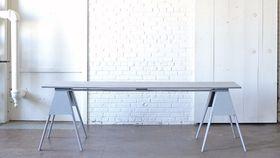 Image of a Gray Sawhorse Farm Table