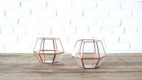Image of a Geometric Copper Lantern - Short