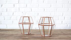 Image of a Geometric Copper Lantern - Tall