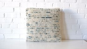 Image of a Cream & Blue Bubble Pillow