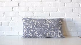 Image of a Gray & White Damask Pillow