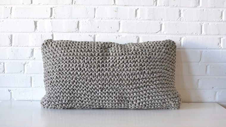 Picture of a Gray Woven Lumbar Pillow
