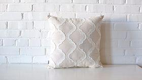 Image of a Linen & White Quatrefoil Pillow