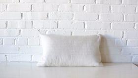Image of a Neutral Striped Lumbar Pillow