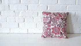 Image of a Square Burgundy Pattern Pillow