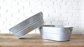 Image of a Small Oblong Galvanized Tub