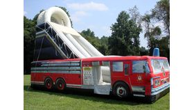 Image of a Fire Truck Inflatable Slide