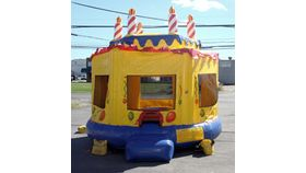 Image of a Small Yellow Birthday Cake Moonbounce